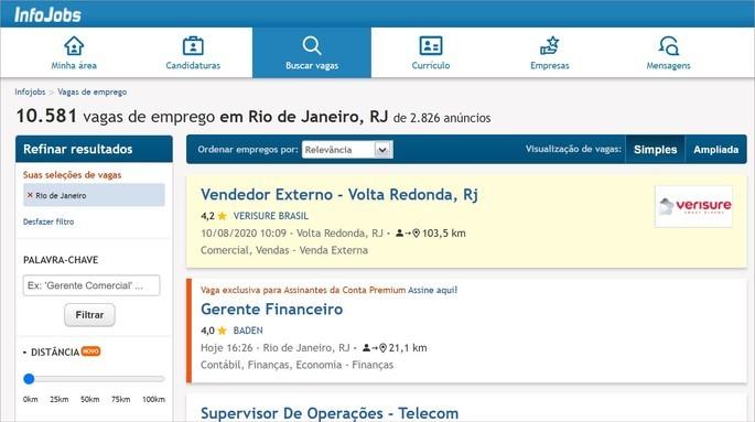 Imagem da ferramenta de pesquisa de empregos do InfoJobs