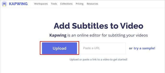 Tela para subir vídeo no site Kapwing