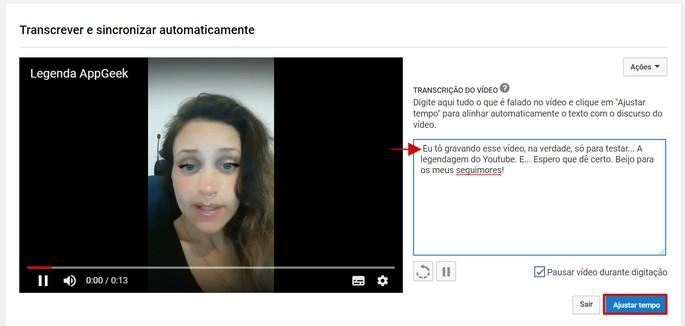 Tela de transcrição e sincronização automática de legendas do YouTube