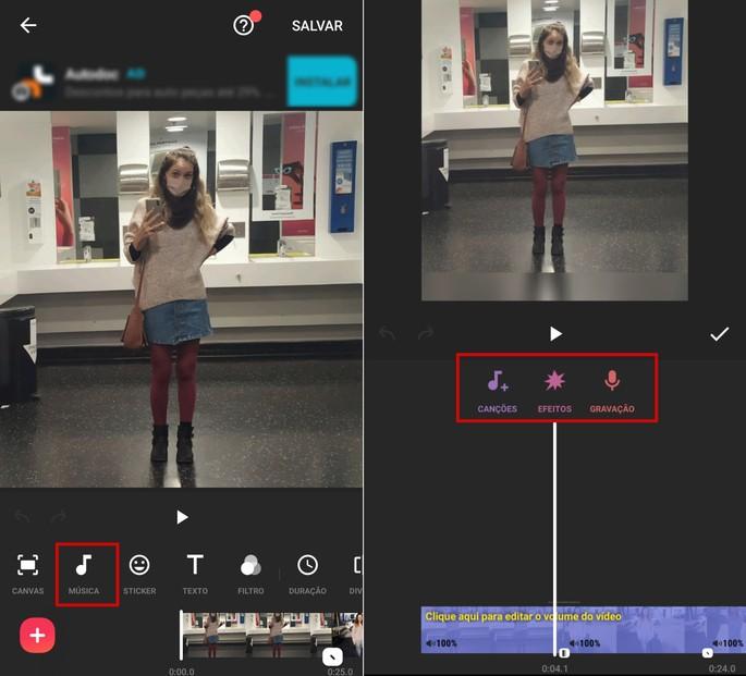 Incluindo a música em vídeo com fotos no InShot