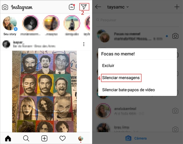 Silenciar contatos do Instagram