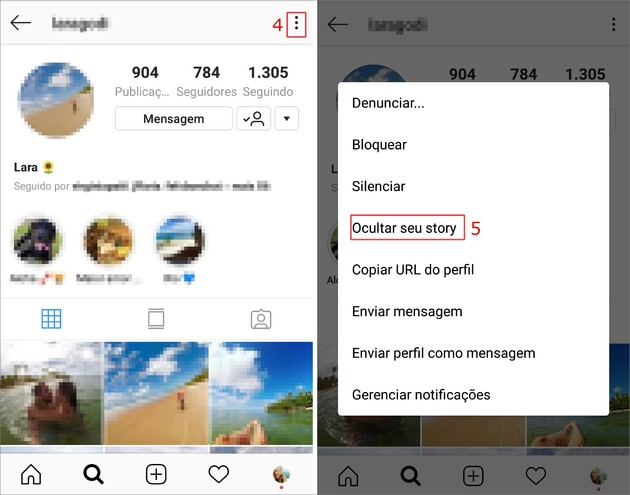 Silenciar contatos do Instagram