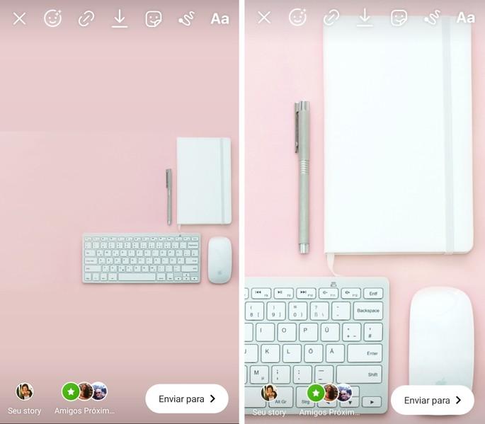 Posts nos Stories de uma foto com o fundo rosa, caderno, teclado e mouse