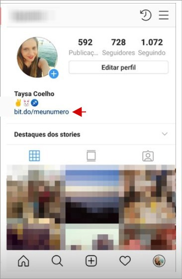 Link do whatsapp inserido no perfil do Instagram