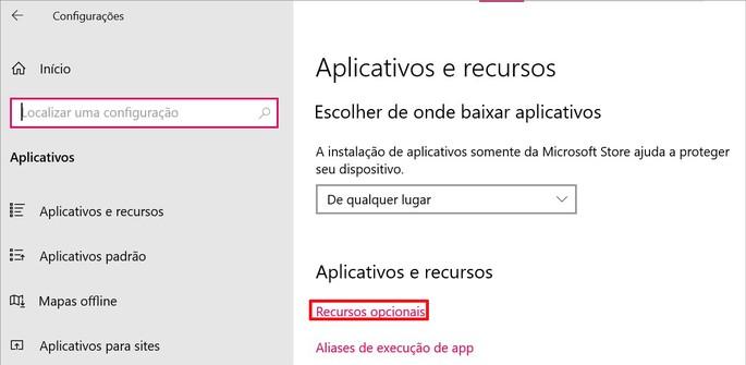 Opção recursos opcionais de Aplicativos no Windows 10