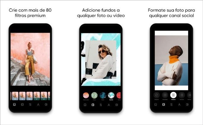 Imagens de divulgação do app Instasize na Play Store