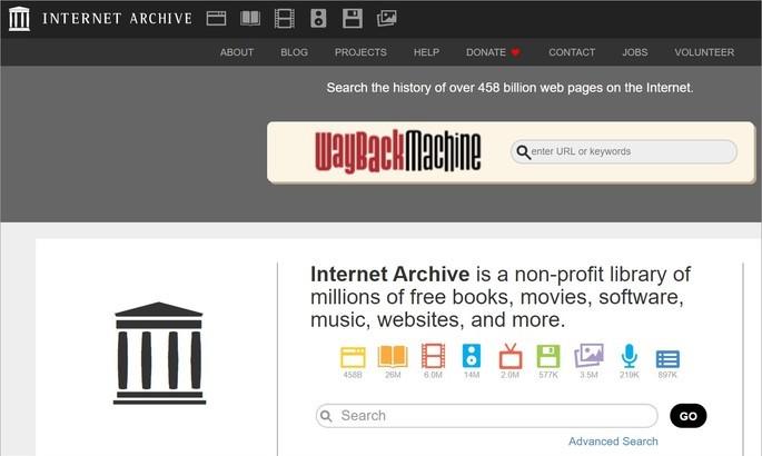 Página inicial do site Internet Archive