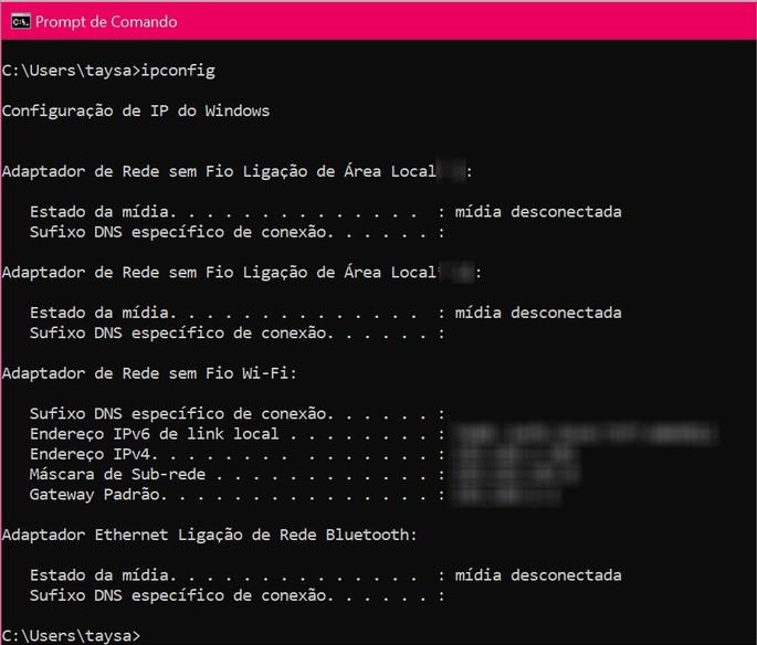 comando ipconfig permite ver as informaçóes sobre a rede