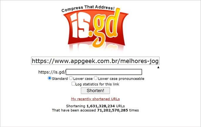 Interface do site is.gd