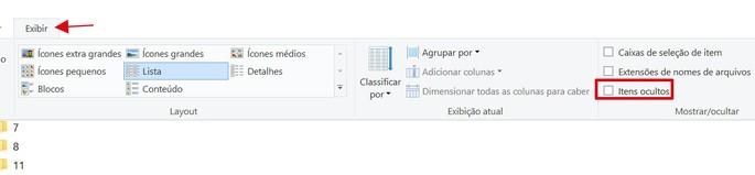 captura de tela do Windows sobre itens ocultos