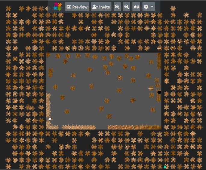 Quebra-cabeças online em processo de montagem