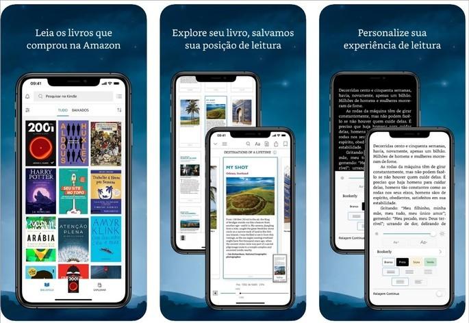 Imagem de divulgação do app de livros para celular Kindle
