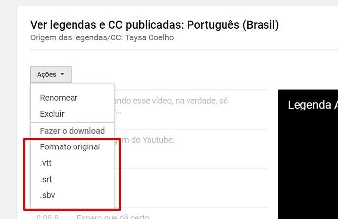 Tela com opções de download de legendas do YouTube