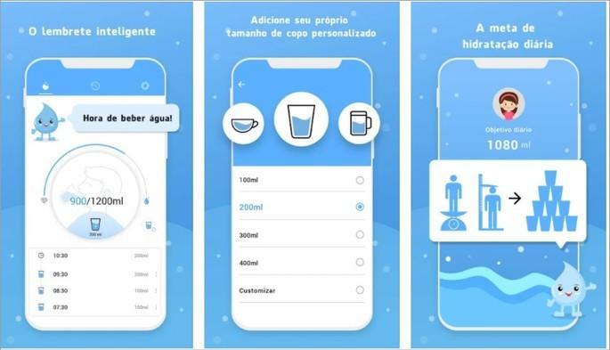 Imagens de divulgação do app Lembrete de Água