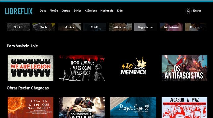 Captura de tela do site de streaming de vídeos independentes LibreFlix