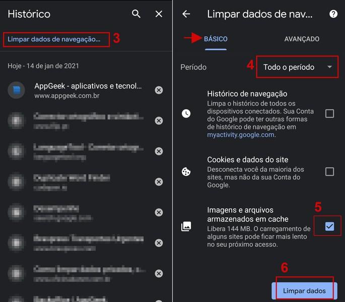 Como limpar o cache no Chrome no Android