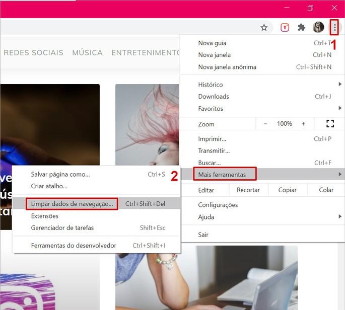 Acessando as configurações de limpeza de cache do Chrome no PC