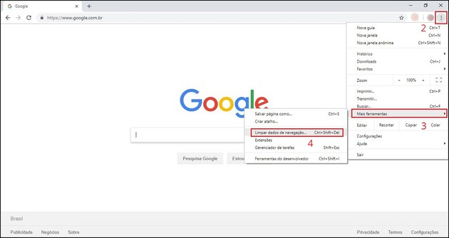 Limpar cache do Google Chrome