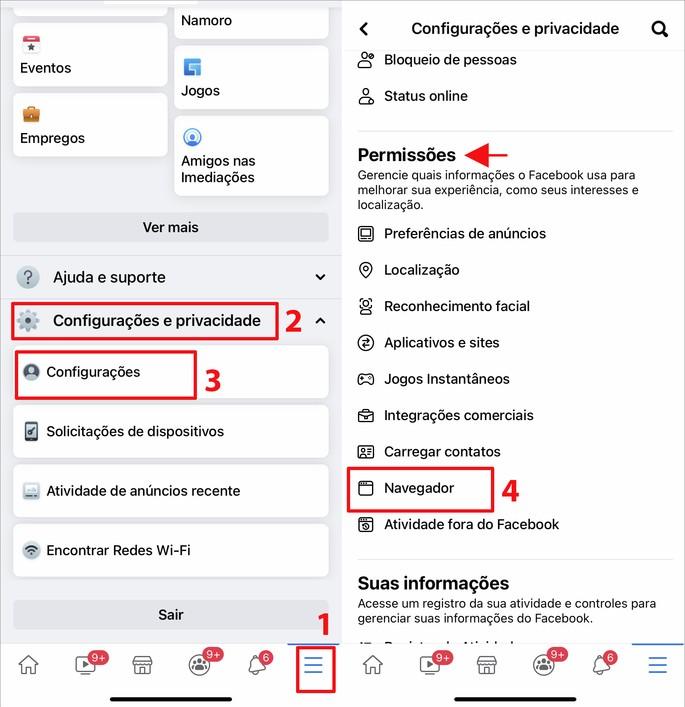 Passos para limpar o cache no app do Facebook para iPhone