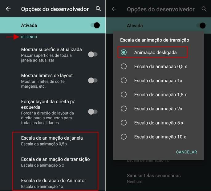 Como desativar animações e efeitos no Android