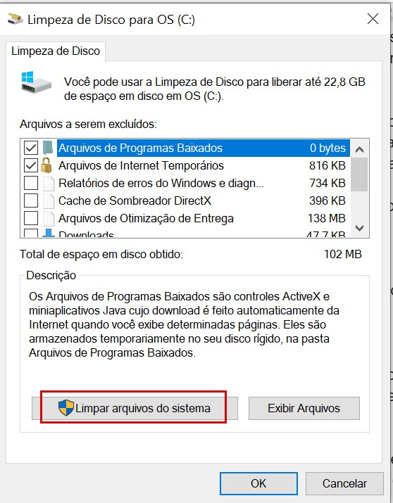 tela do recurso Limpeza de Disco do Windows