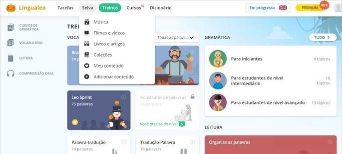 Imagem da página de atividades do site de curso de idiomas LinguaLeo