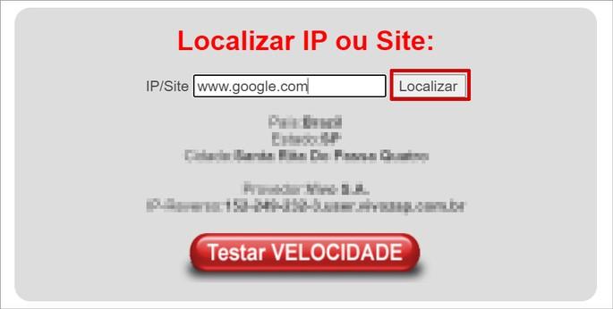 Busca por localização de IP do Google no site LocalizaIP