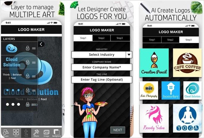 Imagem de divulgação do app de criação de logo Logo Maker