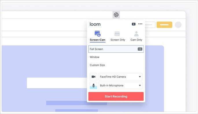 Imagem de divulgação da extensão para Chrome de captura de tela Loom