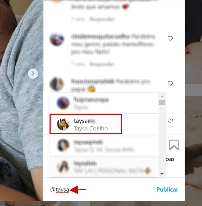 Marcação em comentário no Instagram Web