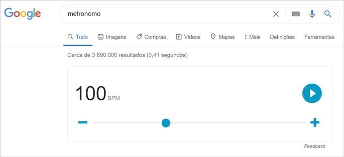 O Google disponibiliza um metrônomo virtual na pesquisa