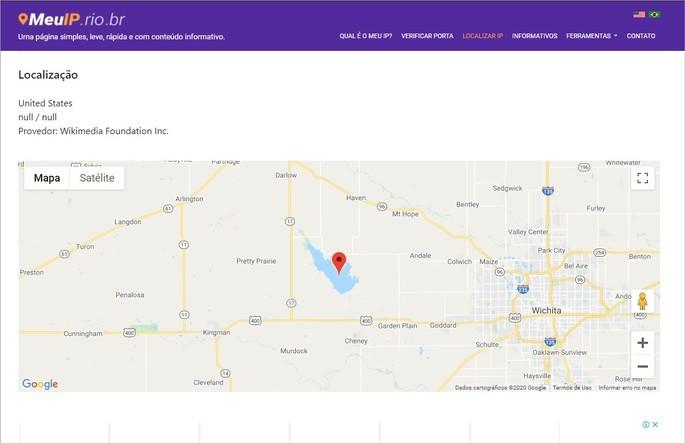 Resultado da pesquisa pela geolocalização do e-mail no site Meu IP