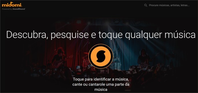 Reprodução do site de reconhecimento de música Midomi