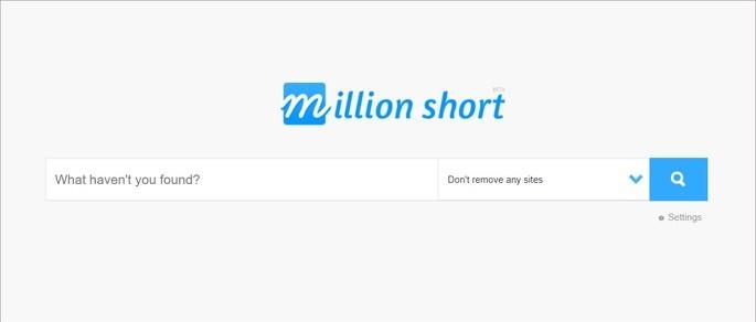 Página inicial do site de busca Million Short