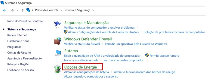 tela de configuração de energia do Windows