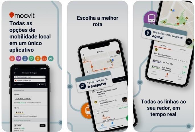 Imagens de divulgação do app Moovit na App Store