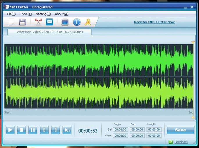 Captura de tela do editor de áudio MP3 Cutter