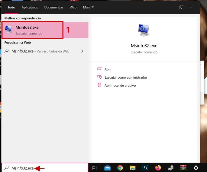 Acessando a função Msinfo32 no Windows 10