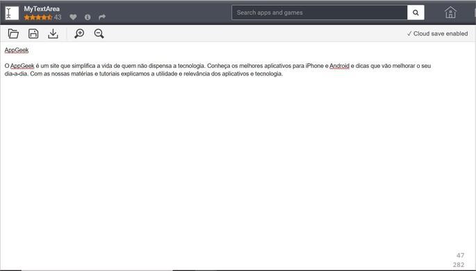 Interface clean do editor de texto online MyTextArea