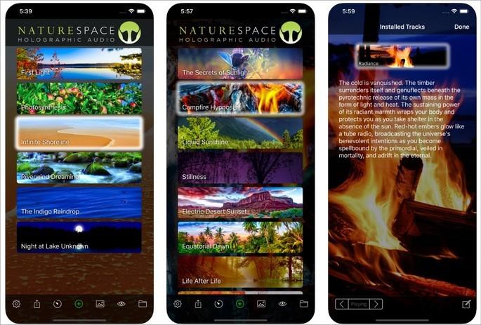 Imagens de divulgação do app Naturespace na App Store