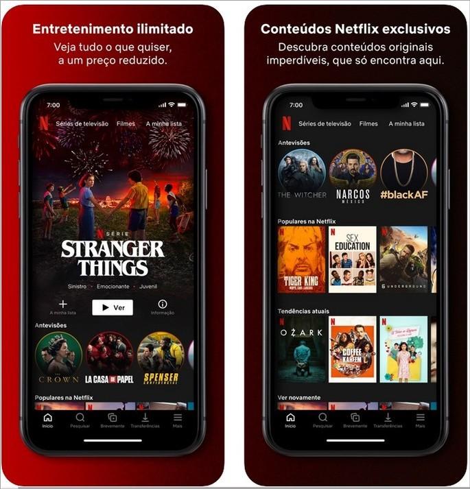 Imagens de divulgação do app da Netflix