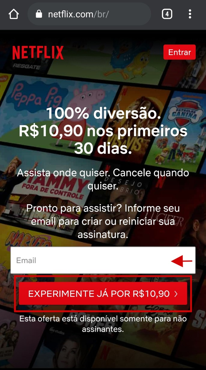Assinatura de 30 dias com valor promocional na Netflix