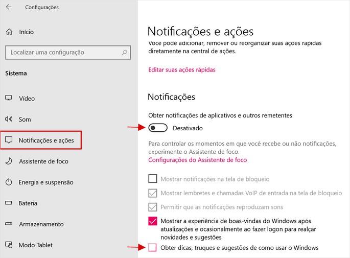 tela de configurações de Notificações e Ações do Windows 10