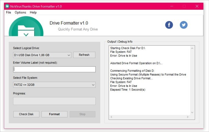 Captura de tela do formatador de pen drive Novirusthanks Drive Formatter