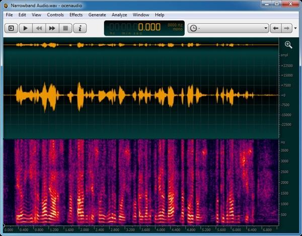 captura de tela do editor de audio ocenaudio