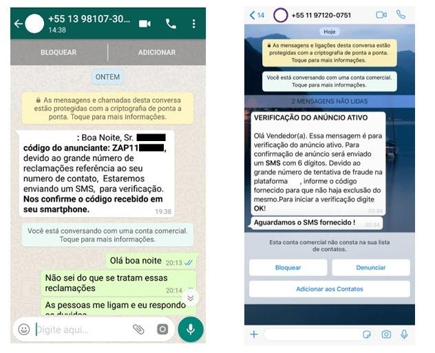 Mensagens recebidas por vítimas de golpes no Instagram