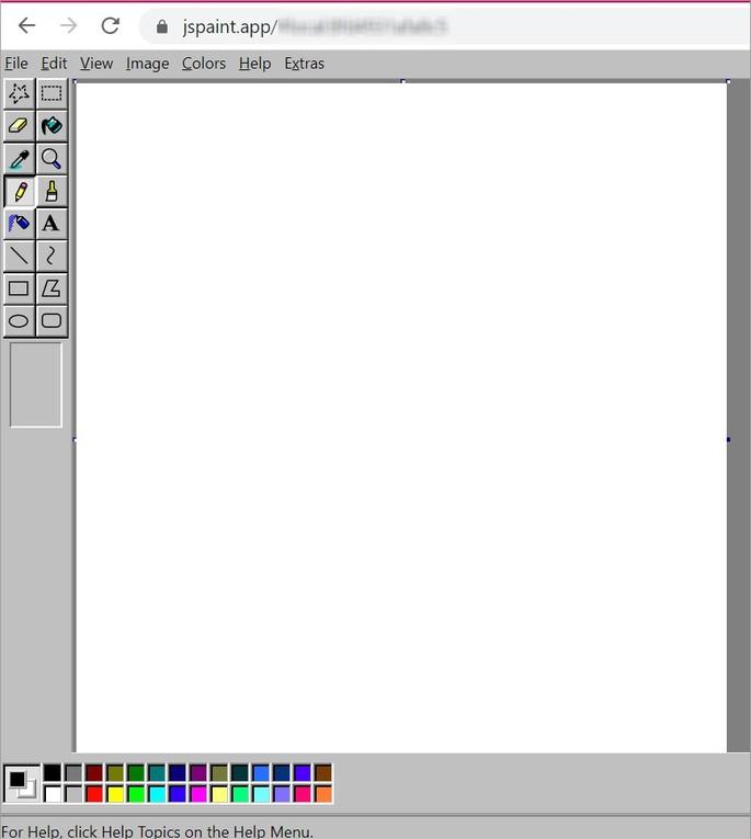 Captura de tela do site JSPaint, que reproduz o programa MS Paint