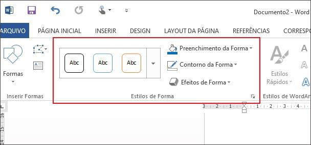 Recursos para editar a ferramenta de formas no Word