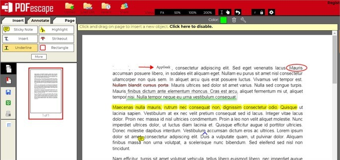 Editor de PDF PDFEscape