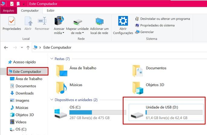 Pen drive na pasta Este computador do Windows